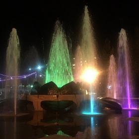 Красивый фонтан с разными цветами